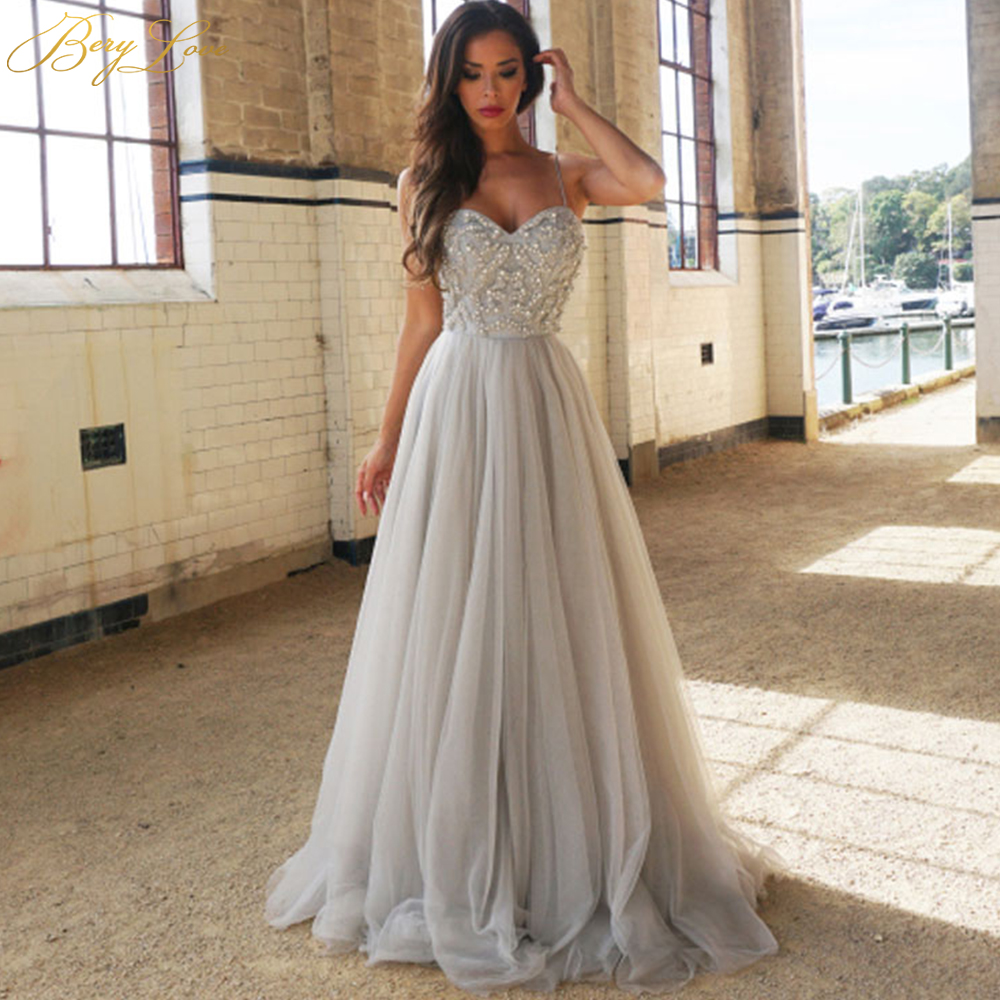 BeryLove Fashion Grey Sliver   Prom     Dresses   2019 Beaded Tulle   Prom   Gowns Sweetheart Long Formal Evening   Dress   Zipper Party   Dresses