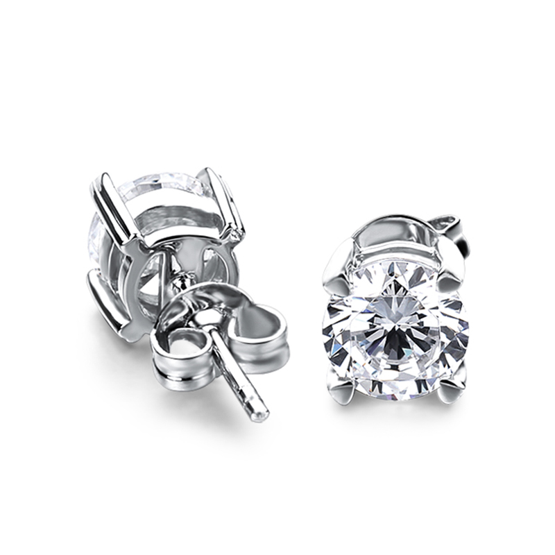 CHEESTAR JEWELS Fine jewelry 925 silver earrings stud earrings with round 6 0mm EF GH color