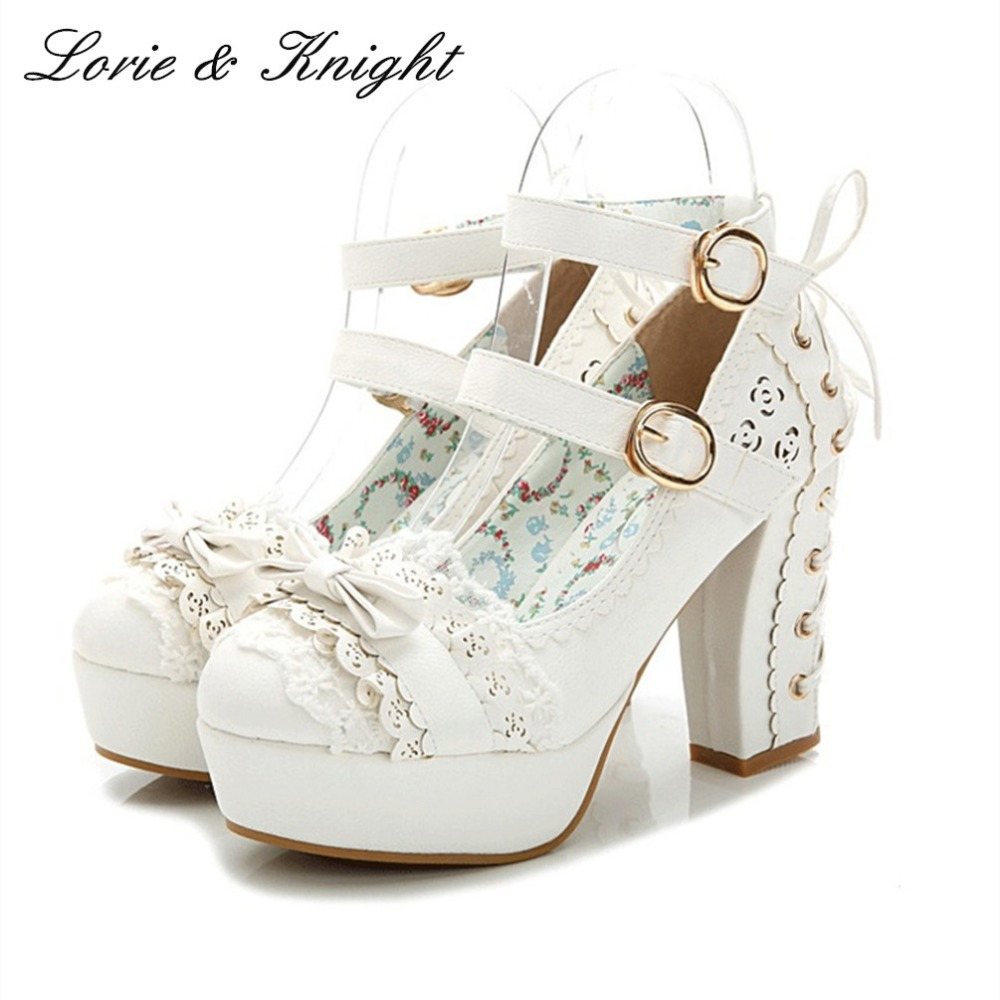 Japanese Style Sweet Bow Lace Candy Color Princess Shoes Buckle Strap High Heels Sweet Lolita Shoes PINK/WHITE/Apricot