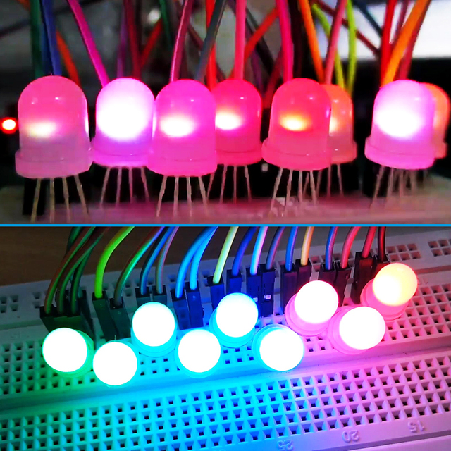 10 pces-1000 pces dc5v ws2811 pl9823 apa106 chipset dentro do chapéu redondo f5 5mm f8 8mm rgb led rgb cor cheia fosco led chips