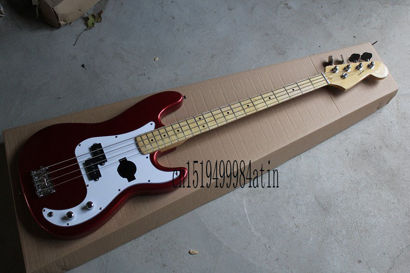 free shipping high quality new custom 4 strings fd precision bass metal red bass guitar 11 in. Black Bedroom Furniture Sets. Home Design Ideas