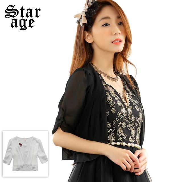 342fc9df915 M-XXXL Ladies Ruffles Chiffon Jacket Women Half Sleeve Tops Cute Outerwear 2015  Summer Brand Plus Size Clothing Black White 9630