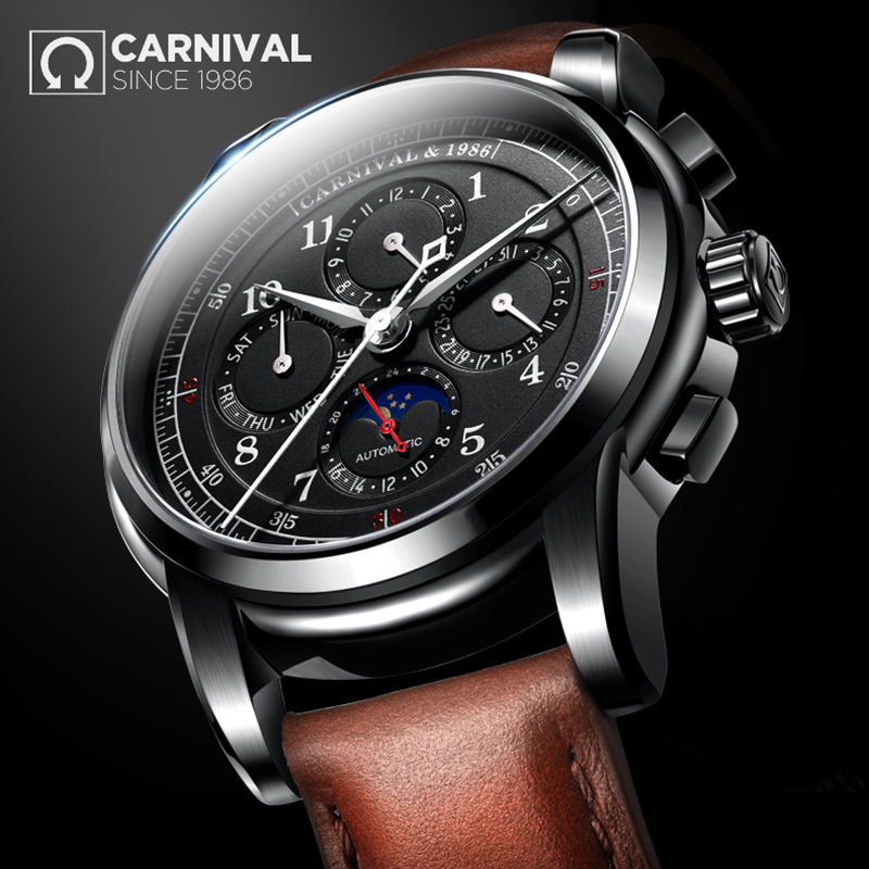 2018 CARNIVAL Complication Automatic Mechanical Men Watche Topbrand Luxury Montre Waterproof Business Casual relogio masculino 2017 carnival skeleton small seconds wrist men watche topbrand luxury steel waterproof automatic mechanical montre hommes