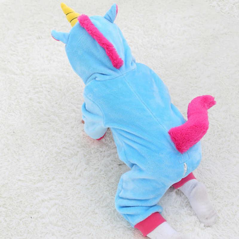 Baby Rompers for Boys Girls Cartoon Flannel Pajamas Kigurumi Rabbit Unicorn Animal Newborn Rompers Stitch Toddler Baby's Sets