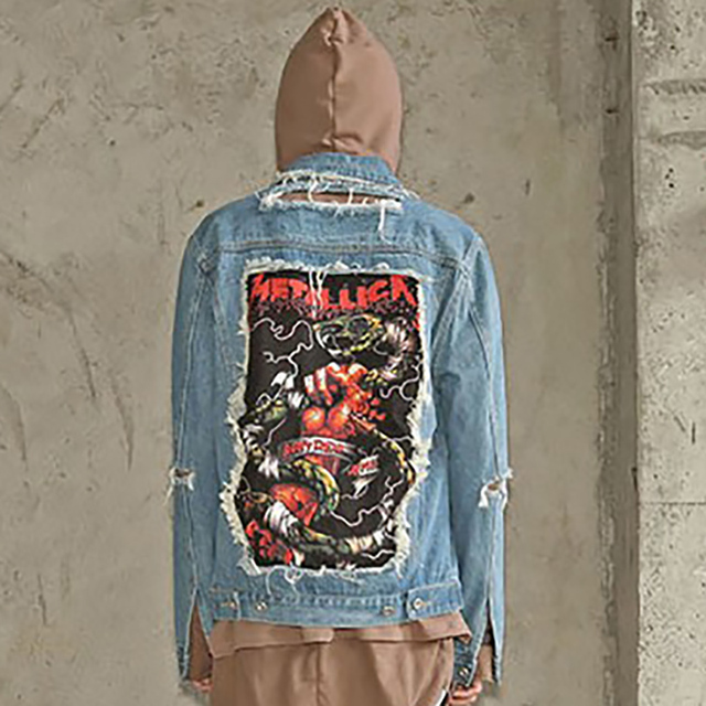 High Street Hole Men Jean Jacket Vintage Fashion Hiphop Loose Denim Jacket Male Casual Coat