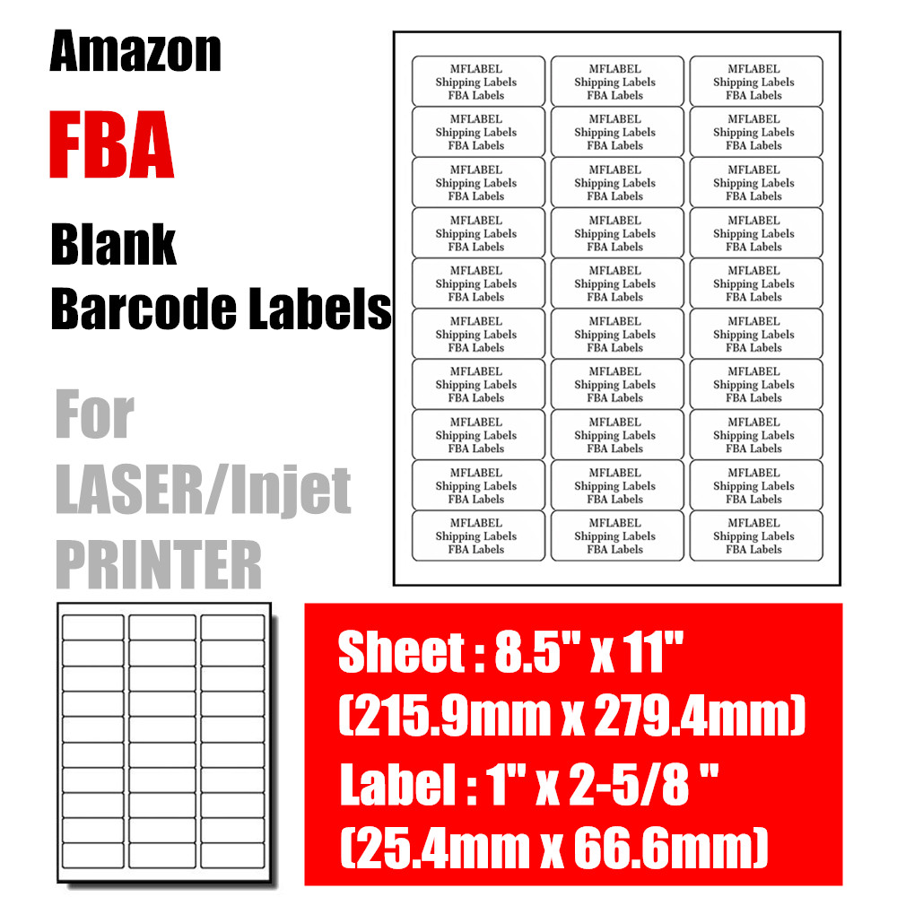 "FBA Label Blank 1/"" x 2-5//8/"" 3000 labels Amazon Merchant Barcode"