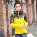 Baratos por atacado 2017 das mulheres do Outono Inverno moda slim down algodão Jaqueta feminina curta designer Ladies trabalho Casacos básicos