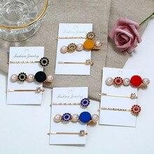 3 Pcs/Set Handmade Women Metal Hairpins Simple Chic Korean Style Imitation Pearl Hair Clip Barrettes Accessories