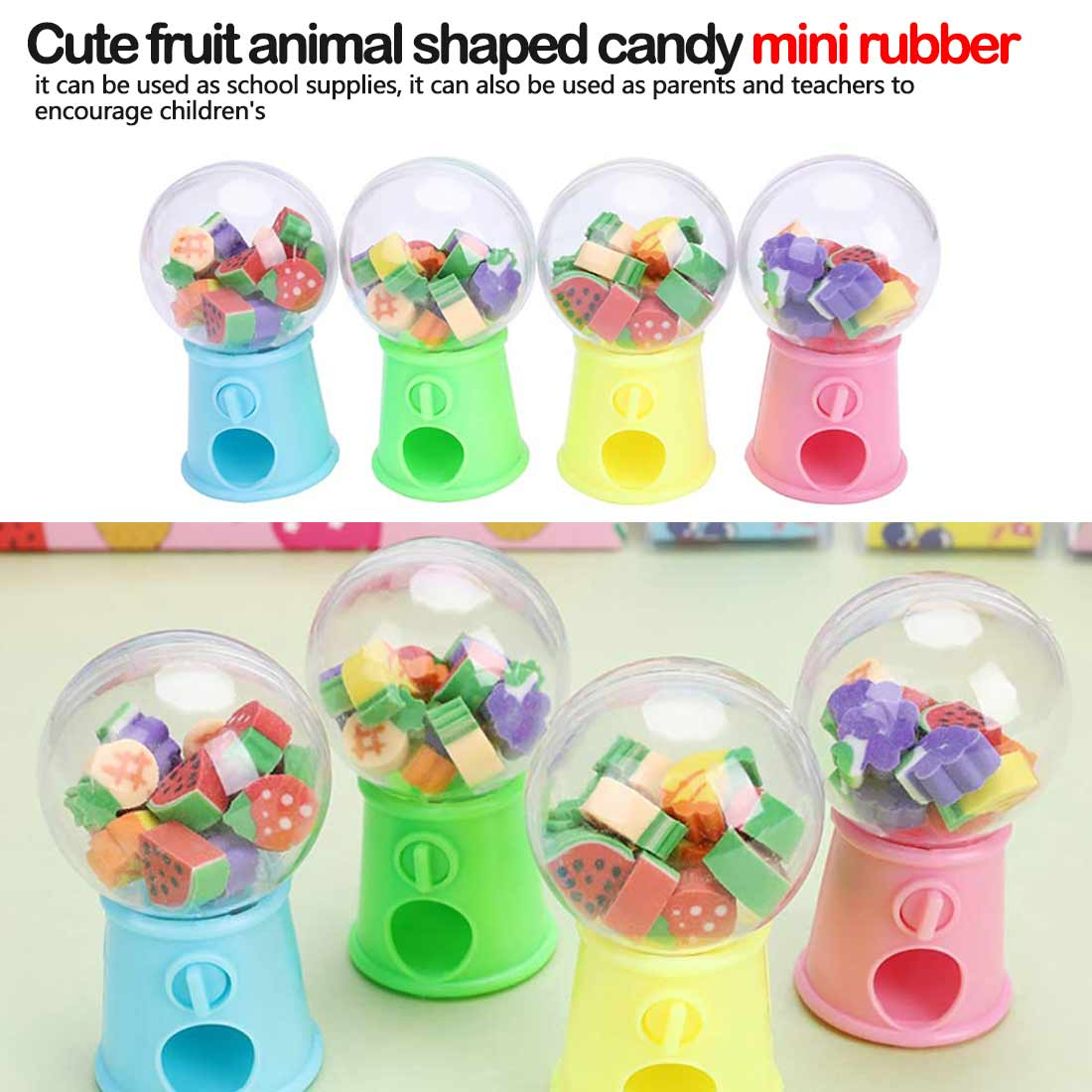 Cute Fruit Animal Shaped Candy Machine Eraser Mini Rubber Kawaii Students Stationery Kids Gift School Office Correction Supplies