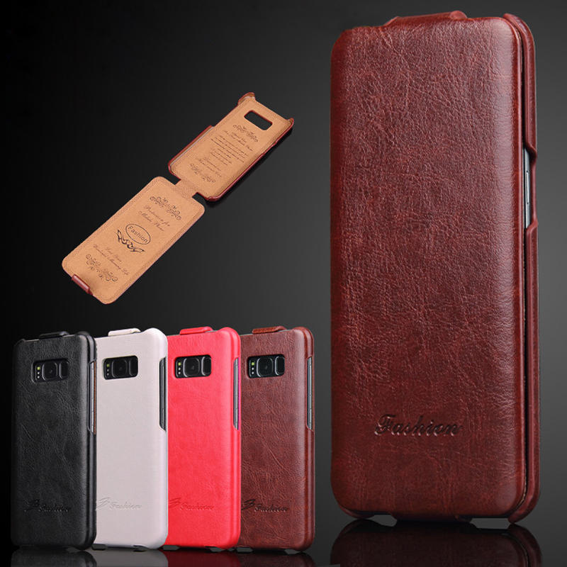 Luxury Retro Business Flip Style Phone Cover Case Genuine Leather for Samsung Galaxy S7 Edge S8 S9 Plus