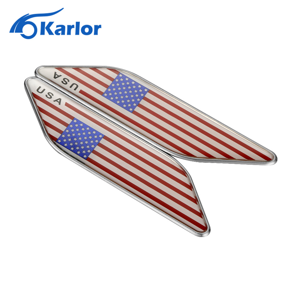 10pcs lot national flag country flag stick flags flag of the united - 2pcs Lot 3d Aluminum United States Usa Flag Leaf Side Fender Car Sticker For Ford