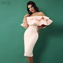 Adyce 2018 New Bodycon Dress Elegant Women Clubwear Butterfly Sleeve Patchwork Ruffles Slash Neck Vestido Celebrity Party Dress