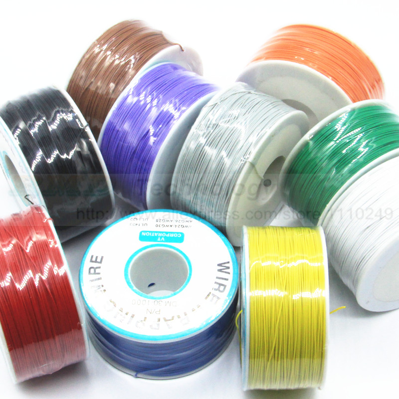 30AWG 0.5mm PCB flying jumper wire OK line Wrapping Wrap Flexible insulation tin-plated 250meter 820FT single conductor 7 16 gx12 aviation circular connector 2 pin 3pin 4pin 5pin 6pin 7pin male plug