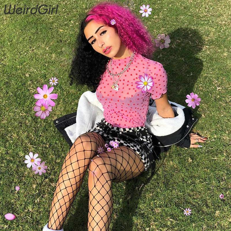 Weirdgirl النساء عارضة قصيرة الأكمام س الرقبة تي شيرت الكشكشة الحب الطباعة الهريس شفافة الوردي الخروج التي شيرت الصيف جديد 2019