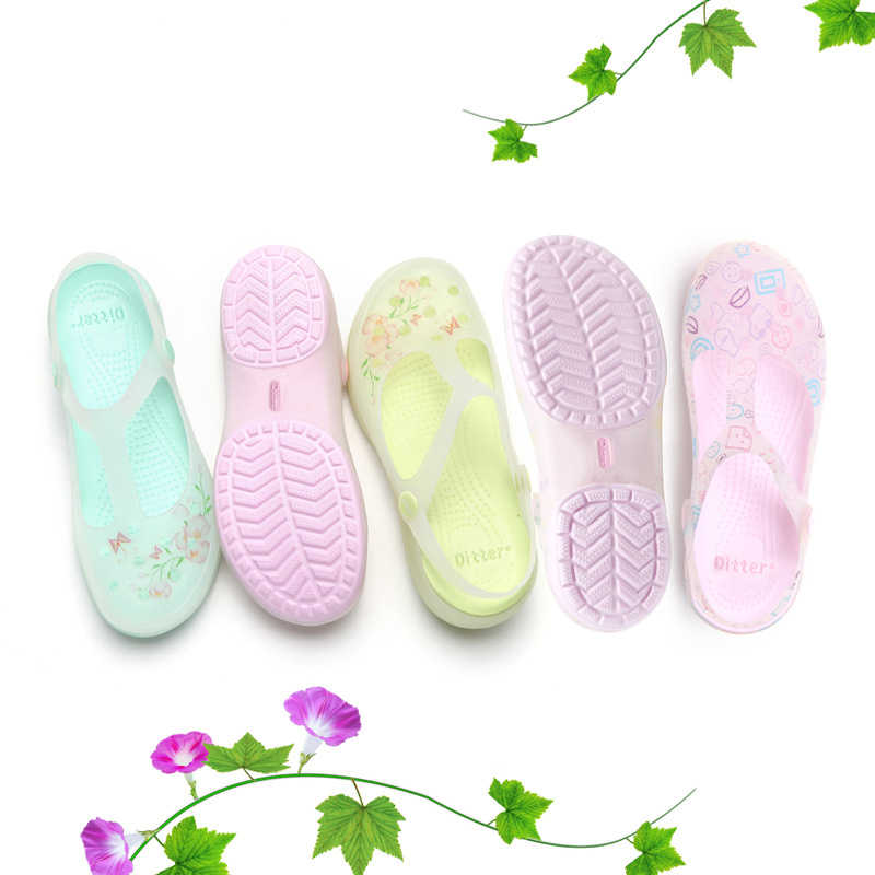 421121e6f Summer Women Mules Clogs Breathable Floral Print Beach Slippers Woman s  Sandals Jelly Shoes Cute Garden Shoes