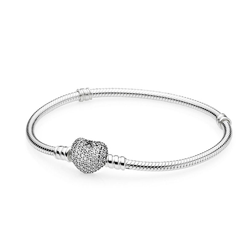 Authentic 925 Sterling Silver Moments With Pave Heart Clasp Crystal Bracelet Bangle For Women fit Lady Bead Charm Jewelry
