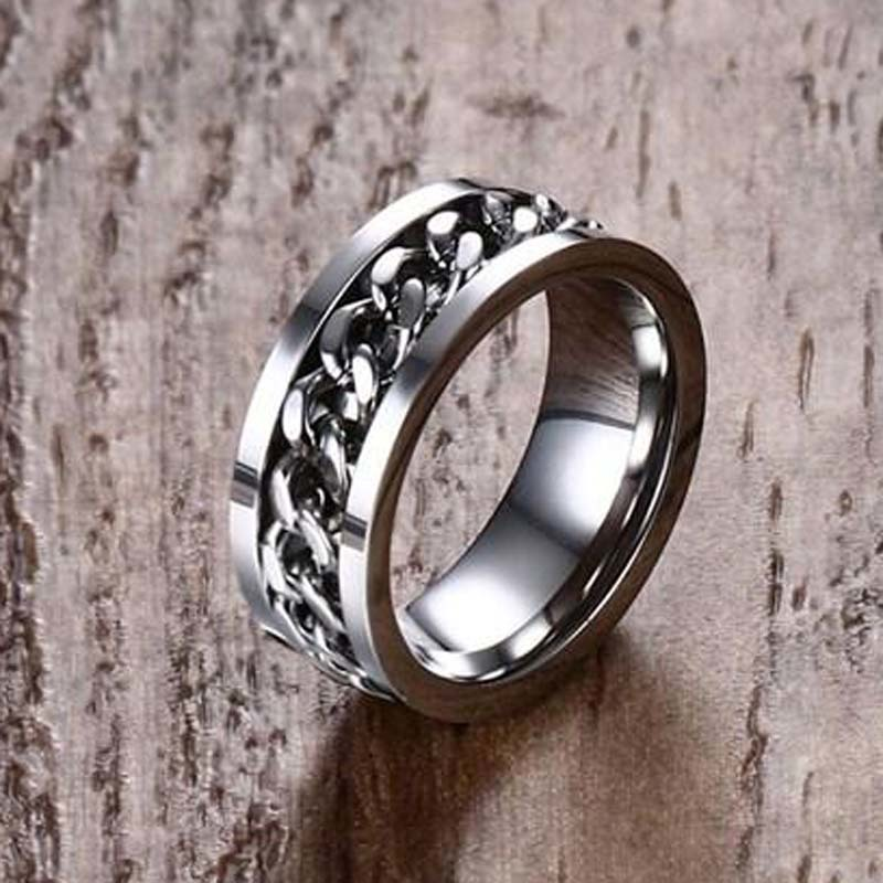 Mens Anti Stress Spinning Ring Curb Chain Spinner Band in Silver Tone Men Stainless Steel Male Jewelry Anillos