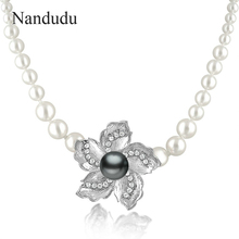 Nandudu White Gray Faux Pearl Necklace Flower Pendant White Clear Crystal Chain Necklaces Female Women Jewelry Gift N29