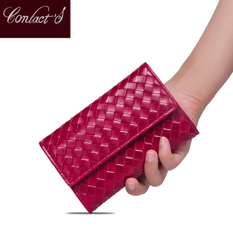 Contact s Classic Sheepskin Weave Women Wallets Purse Female Original Leather Handmade Woman Lamb Leather Wallet