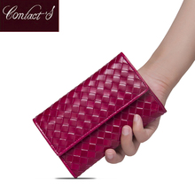 Contacts Classic Sheepskin Weave Women Wallets Purse Female Original Leather Handmade Woman Lamb Leather Wallet Ladies Clutch