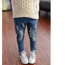 2016 Autumn Girls Clothes New Korean Hole Jeans Fashion Casual Light Wash Mid Elastic Waist Regular Childrens Long Pants