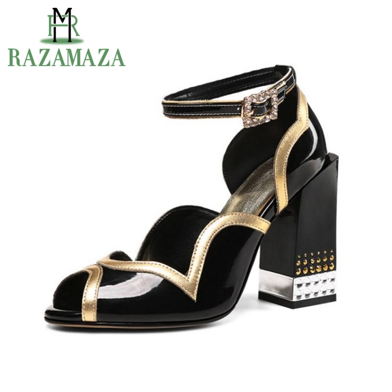 RAZAMAZA Women High Heel Sandals Ankle Strap Square Heel Mixed Color Real Leather Women Summer Shoes Vintage Footwear Size 34-43