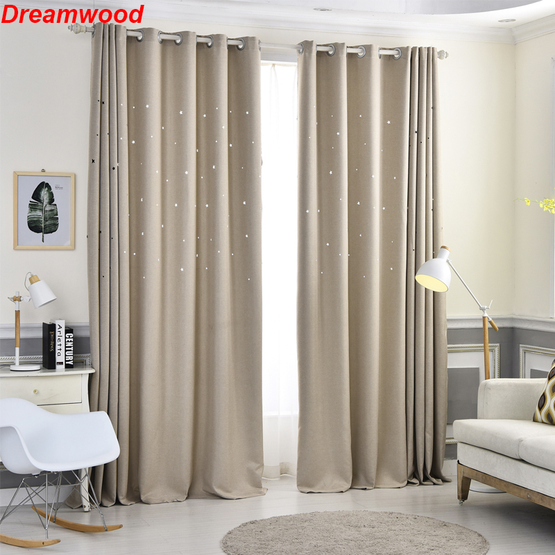 Stars children dream curtains 100 polyester blackout living room curtain Green Blue Gray Cream available curtains in Curtains from Home Garden