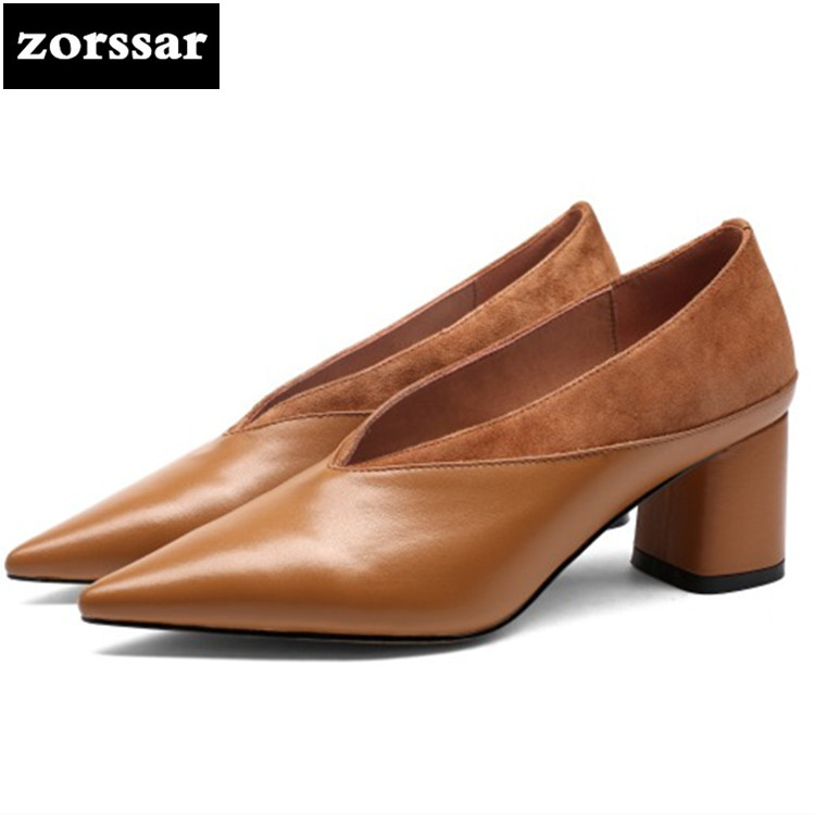 {Zorssar} 2018 NEW fashion Genuine Leather thick heel womens shoes Shallow Pointed toe High heels pumps woman dress shoes heels 2015 new design womens wedges heels pumps fashion pointed toe wood heel single shoes large size thick heels ladies shoes 34 43