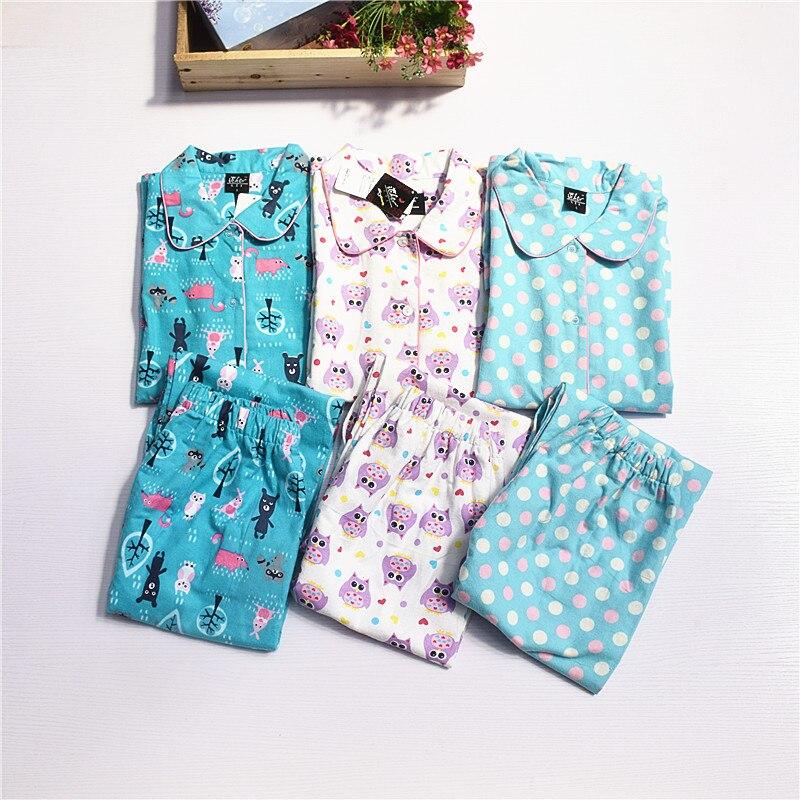Pajamas for women Spring and autumn long sleeves Flowers Pajama Cotton woven velvet cotton cloth Pajama Set