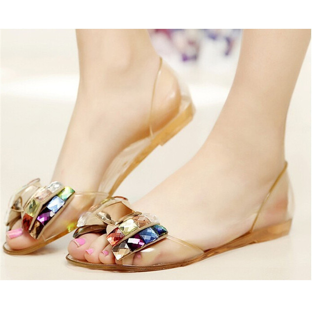 a2aff0779450 2018 Summer Sandals Women Fashion Jelly Shoes Sandal Bling Bowtie  Transparent PVC Flat Shoes Woman Beach