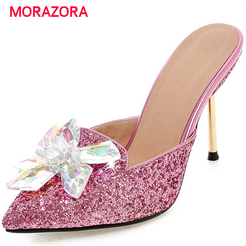 MORAZORA Summer sandals women shoes rhinestone thin high heels shoes 9.5cm party shoes elegant pointed toe large size 34-43 morazora bind pu solid high heels shoes 5cm in summer fashion elegant party shoes sandals party large size 34 42
