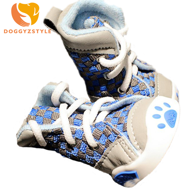 4pcsset Pet Dog Shoes Plaid Footprint Casual Boots For Yorkie Dogs