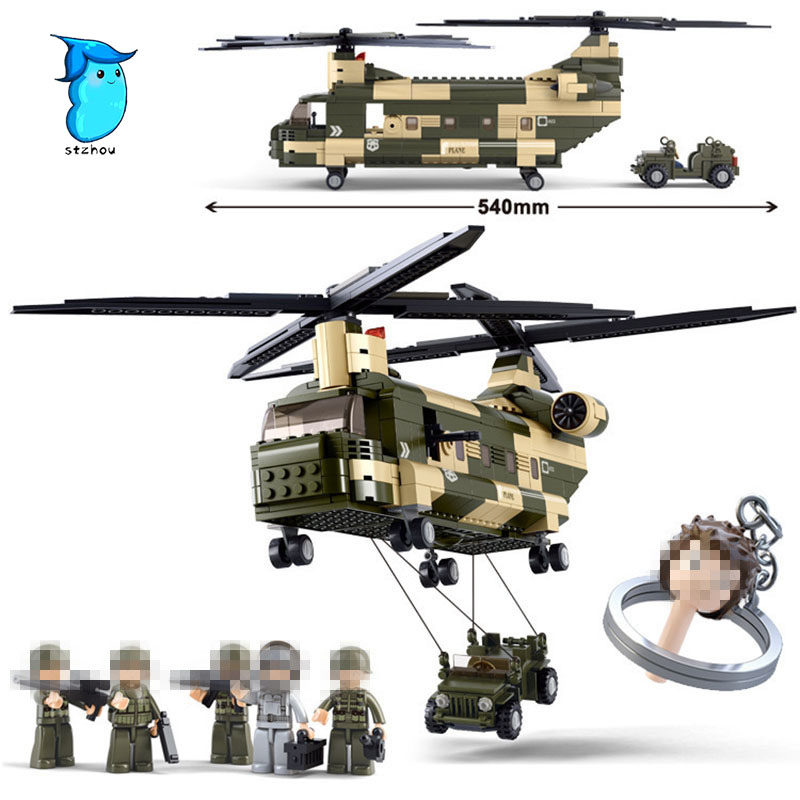 Building Block Sets Compatible with legos military transport helicopter 3D Construction Brick Educational Hobbies Toys for Kids sluban chinese military building block set compatible with lego aircraft carrier liaoning construction educational hobbies toys