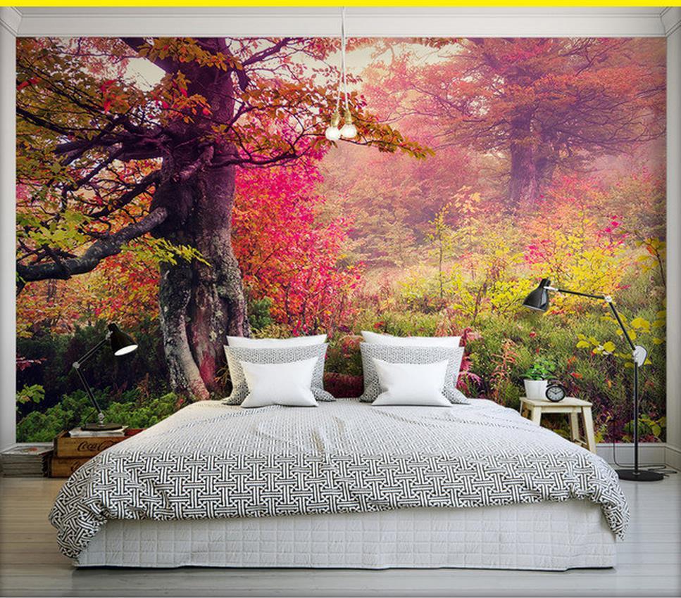 Papel De Parede 3d Para Sala De Outono Linda Vista Para A Floresta  -> Papel De Parede Para Sala Bordo