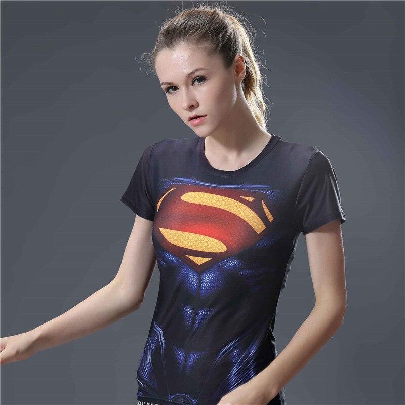 17  High Elastic Tight Tshirt Women Summer Top Superman Fitness Compression Shirt T Shirt Women Short Sleeve O-neck Tee Shirt Femme