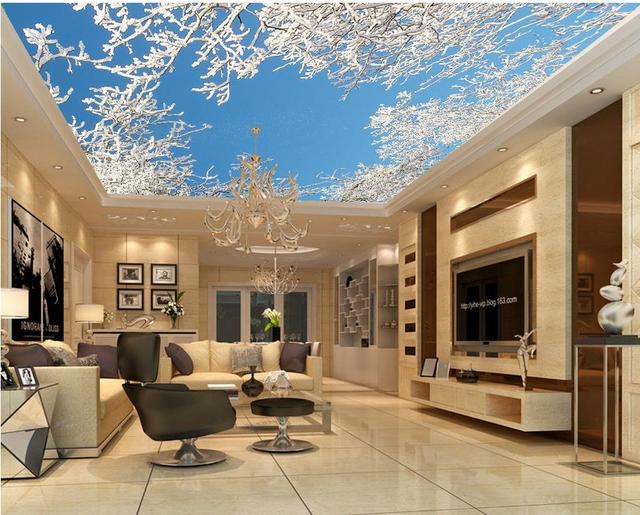 Décoration De La Maison Cèdre Arbre Plafond 3d Papier Peint Moderne Pour Salon  Peintures Murales Plafond