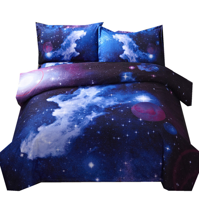 3d Galaxy dyne dekselsett Enkel dobbel Twin / Queen 2stk / 3stk Universe Outer Space Themed