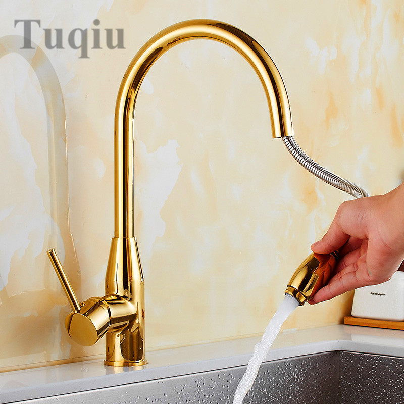Free Shipping Golden pull-down Down Kitchen Faucet Solid Brass Swivel Pull Out Spray Sink Mixer Tap Water tap newly arrived pull out kitchen faucet gold sink mixer tap 360 degree rotation torneira cozinha mixer taps kitchen tap