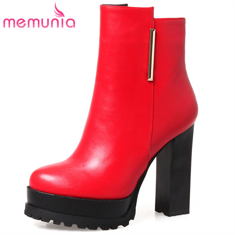 MEMUNIA 2018 Sexy lady high heels shoes woman ankle boots for women fashion shoes platform boots autumn big size 34-43 memunia big size 34 43 over the knee boots for women fashion shoes woman party pu platform boots zip high heels boots female