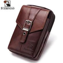 FUZHINIAO Men Leather Waist Bag Vintage Functional Money Phone Belt Bag Small Messenger Shoulder Chest Phone Pouch For Travel(China)