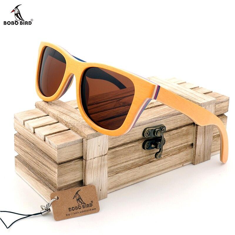 BOBO BIRD AG012b Unisex Handmade Oculos de sol masculino Colorful Wooden Frame Tawny Polarized Lens Men