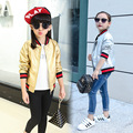 Girls Jackets Fashion Long Sleeve Faux Leather Coat Autumn Girls Tops Big Kids Jackets Children Clothing Gold and Silver Color