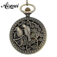 wholesale price good quality vintage retro new antique bronze men and women love bird roman mechanical pocket watch hour chain