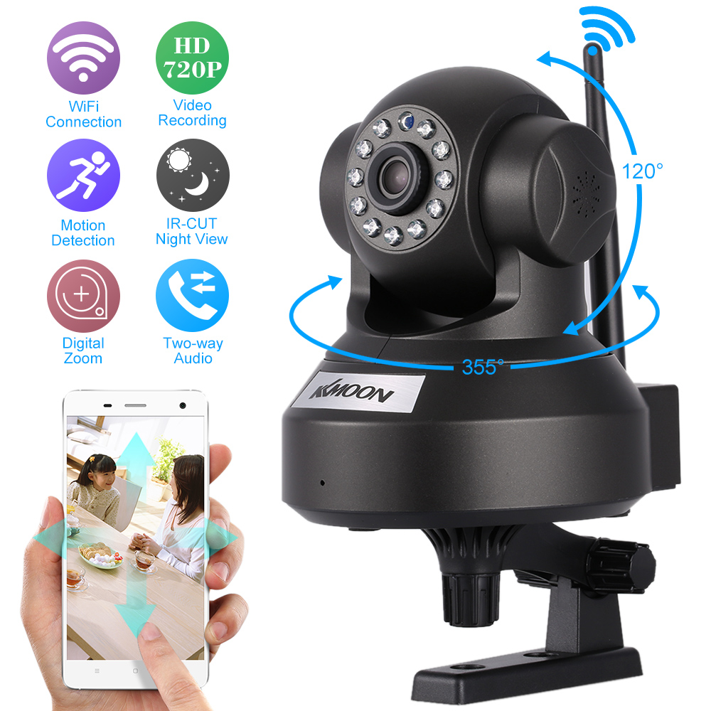 US $24 99 26% OFF KKmoon HD 720P Wireless Wifi IP Camera H 264 P2P P/T IR  Cut Night Vision Security Camera Network IP Webcam Support 32GB TF Car-in