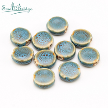 10pcs Charm Ceramic beads flower glazed Flat Beaded for Handmade diy making bracelet Jewelry Porcelain Beads Wholesale T5