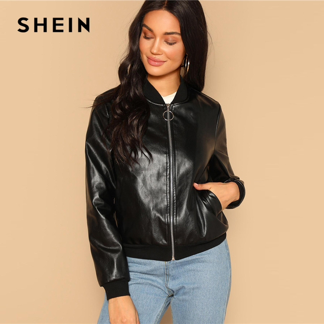 SHEIN Black Zip Up Faux Leather Bomber Jacket Casual Stand Collar Pocket Plain Outerwear 2019 Women Streetwear Going Out Coats 4