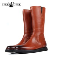Mens Winter Boots Knee High Zipper Flats Motor Biker Shoes Male Luxury Genuine Leather Military Martin Boots Army Comat Footwear