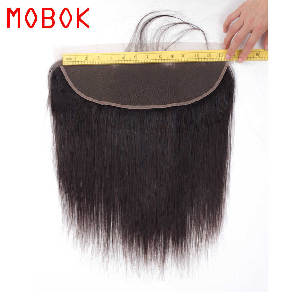 "MOBOK Hair Brazilian Straight Human Hair Lace Frontal Closure 13*4 with Baby Hair 8""-22"" Natural Color Non-remy Weave Closure"