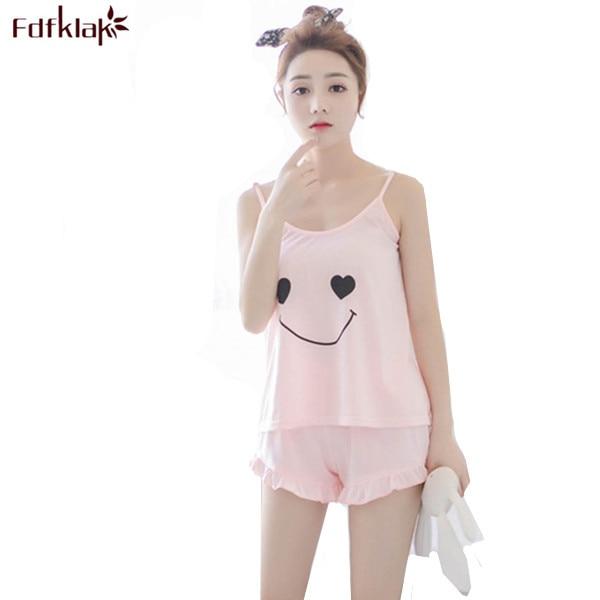 Summer New Cotton Pajamas Women s Tracksuits Spaghetti Strap Pyjama Shorts  Cute Pajama Sets Nightwear Pijama Sleepwear Sets Q126 af8cc235d
