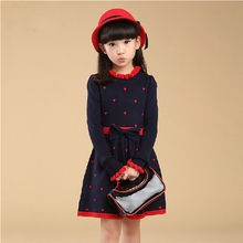 4-5678910-11year Children Winter Clothing Cotton Sweater Dress Teenage Girl One-Piece Sweater Dresses Child Princess Party Dress